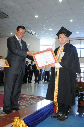 With My  Prime Minister H.E. Samdech Hun Sen. Graduated with honor